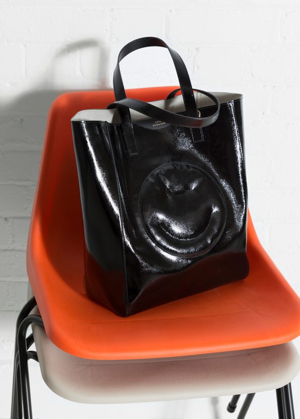 Anya Hindmarch Chubby Smiley Tote in Black